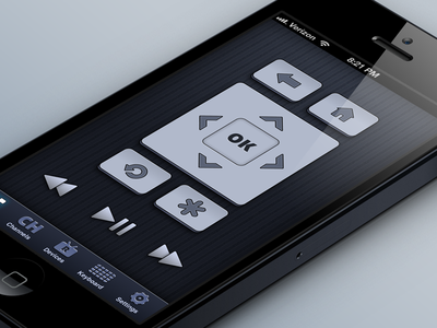 RoByte - Roku Remote interface iphone 5 interface design roku tinybyte apps ios app ui iphone remote dark blue android