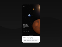 Uber Space App Concept interface ui app black starships render earth mars uber space animation 3d animation 3d