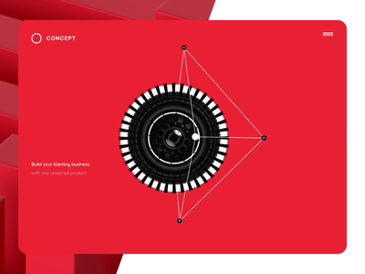 Concept for iGaming Platform landing website ui interface black white abstract redshift3d red gaming