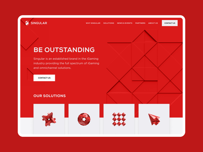 Singular – iGaming solutions redesign uiux ui interface gamers games 3d white red