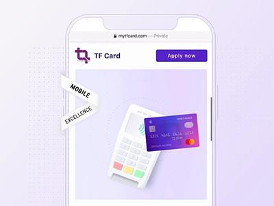 Landing Page for a Bank Card bank card card financial finance bank minimal landing mobile application illustration bachoodesign website animation clean