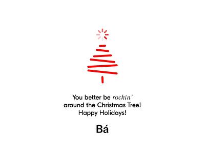 Holiday greetings from Bá! greetings card christmas tree holiday christmas