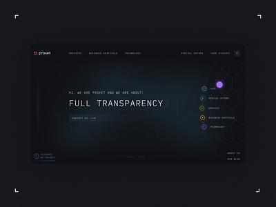 Proxet Website machine navigation dark futuristic future it company