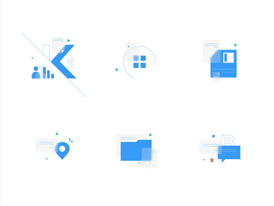 Icons for Kidbrooke glass blur corporate identity corporate business geometry icons
