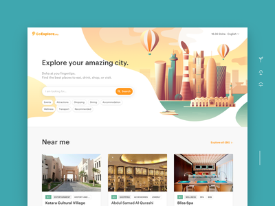 Qatar Travel Guide: Goexplore illustration interface ui travel app news tourism attractions events service booking guide travel