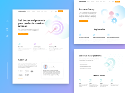 Judolaunch. PPC management tools and services clean tool seller business sale bachoo bachoodesign ui design homepage minimal landing ux-design service launch platform amazon product interface illustrations website