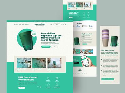 Green Caffeen web design interface responsive green home website ui