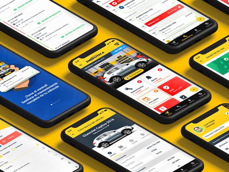 Energiteca App interface ui  ux design app cars