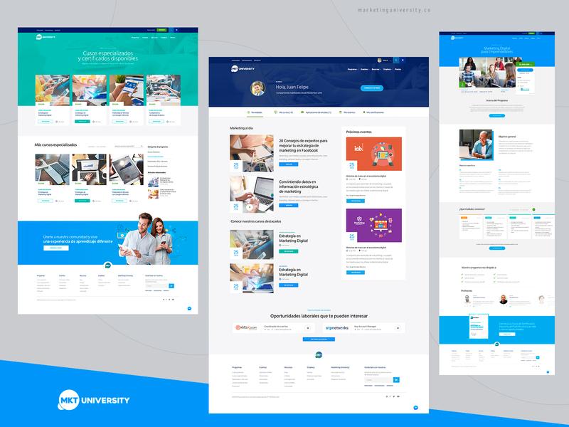 Marketing University ui education website interface blue education elearning