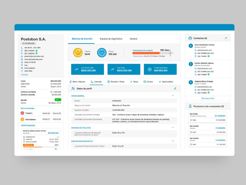 CRM interface ui dashboard crm