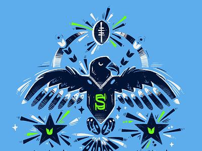 Seahawks vs Cowboys Digital Ticket sportsdesign sports hawk bird illustrator drawing seattle seahawks nfl social media procreate illustration digital illustration football