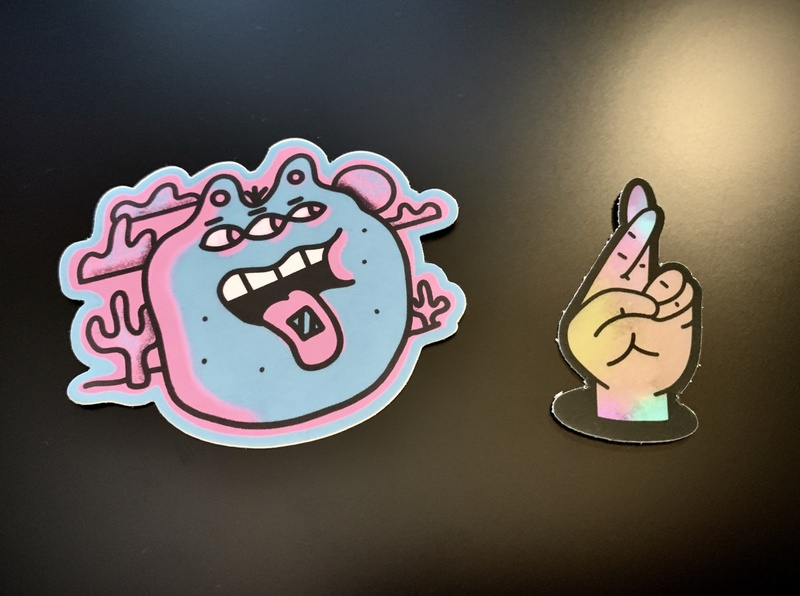 New stickers hand character procreate illustration stickers pink blue