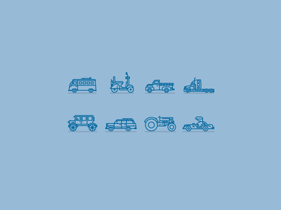 Vehicle Icons blue tractor pickup gullwing model-t wagon scooter bus auto icon car vehicle