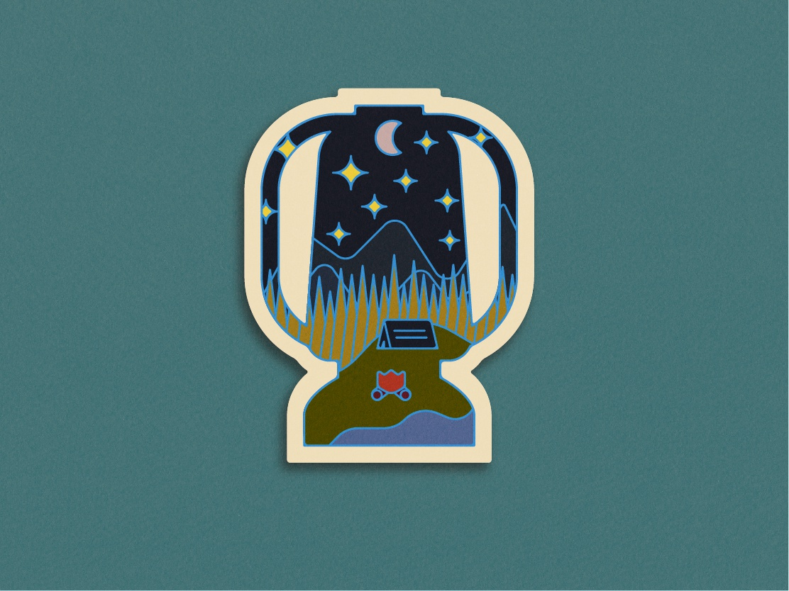 You Made It Outside! outdoors lamp camping badge
