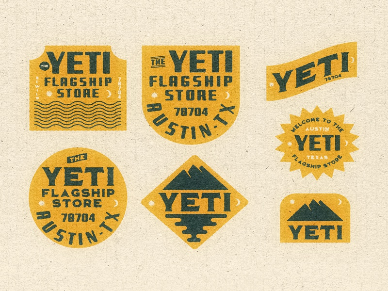 Yeti Badges for fun yellow badge yeti outdoors badge design