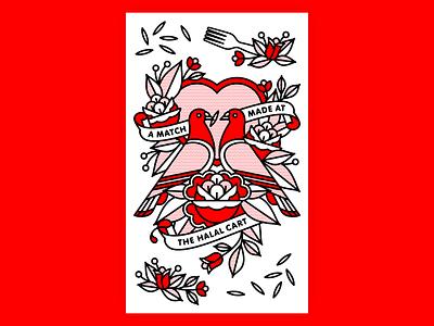 A Match Made at the Halal Cart love heart poster fork bird rose mono line monoline new york city nyc halal valentines pigeon typography tattoo pop art illustration halftone