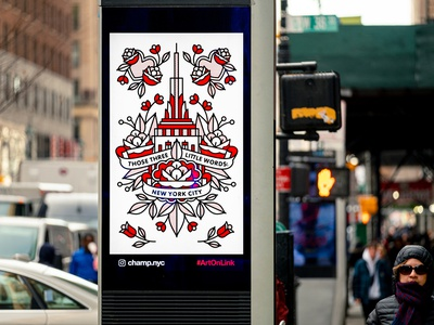 Lisa Champ X Link NYC for Valentines Day 2020 billboard empire state building rose flower mono line monoline typography love valentines day new york city nyc tattoo pop art illustration halftone
