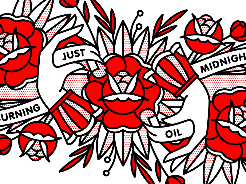 Just Burning Midnight Oil midnight flower hand vector typography monoline halftone tattoo pop art illustration