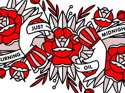 Just Burning Midnight Oil fingers rose oil publication book mono line midnight flower hand vector typography monoline halftone tattoo pop art illustration