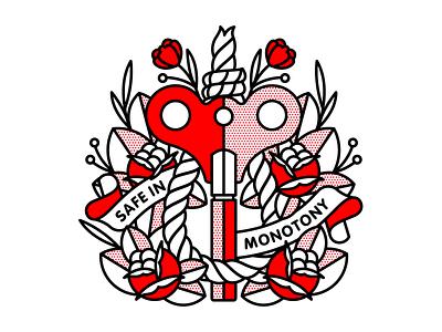 Safe in Monotony. rose mono line routine noose windup monotony typography monoline tattoo illustration pop art halftone