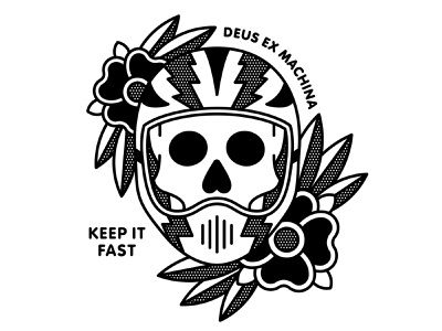 Deus Quarantee Comp fast pop art racing skull flower mono line monoline tattoo typography illustration halftone apparel motorcycle helmet deus ex machina