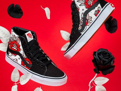 Custom Vans mono line monoline illustraion sneaker flower rose photography animation high tops shoes flowers surreal vans halftone tattoo pop art