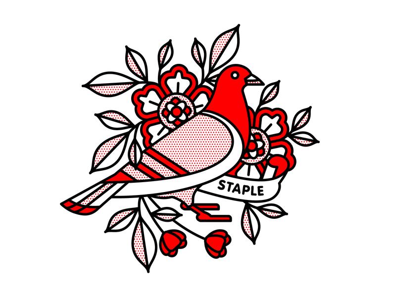 Staple Pigeon x Champ mono line bird pigeon staple typography monoline tattoo pop art illustration halftone