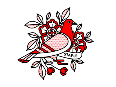 Staple Pigeon x Champ mono line bird pigeon staple typography monoline tattoo pop art illustration halftone