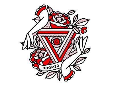 Doomed. doom fingers hands flower mono line apparel t-shirt 2020 typography monoline tattoo pop art illustration halftone