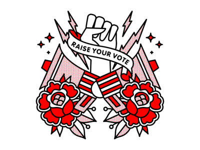 Raise Your Vote voice politics vote megaphone fist flower mono line typography monoline tattoo pop art illustration halftone