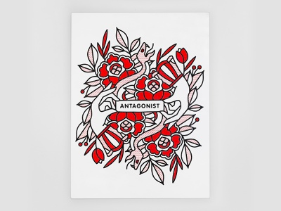 Antagonist. rose flowers snake spray can hands aerosol spraypaint painting antagonist mono line typography monoline tattoo pop art illustration halftone