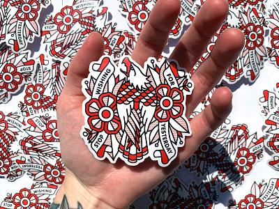 Stop Wishing For Yesterday Sticker red mono line sticker design sticker eagle flower typography monoline tattoo pop art illustration halftone