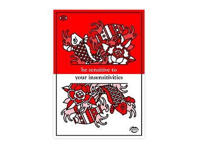Be Sensitive to Your Insensitivities collaboration water empathy sensitive aquarius pisces fish mono line typography tattoo monoline pop art illustration halftone