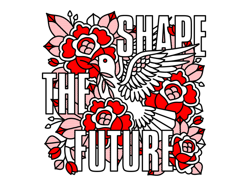 Shape The Future vote bird dove future rose typography mono line monoline pop art illustration halftone