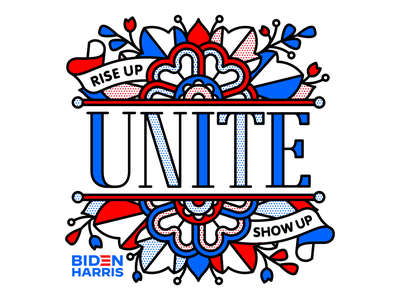 Rise Up Show Up Unite. riseupshowupunite unite 2020 vote type lettering flower typography mono line tattoo monoline pop art illustration halftone