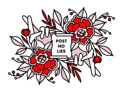 Post No Lies. flowers fingers crossed fingers hand hands post lies rose typography mono line monoline pop art illustration halftone