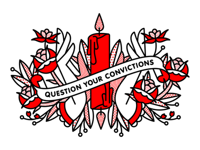 Question Your Convictions Redux occult candle rose fingers hand flower typography tattoo mono line monoline pop art illustration pattern halftone