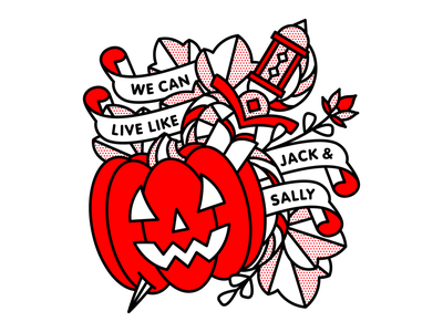 We Can Live Like Jack & Sally dagger nightmare before christmas blink182 pumpkin halloween typography mono line tattoo monoline pop art illustration halftone