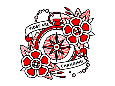 Tides Are Changing. change tide nautical sailor compass flower typography mono line red tattoo monoline pop art illustration halftone