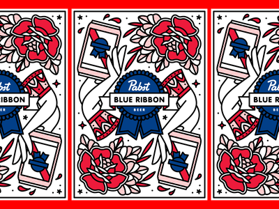 Pabst Blue Ribbon Label beer can beer label package design packaging can pabst blue ribbon pbr mono line tattoo monoline pop art illustration halftone