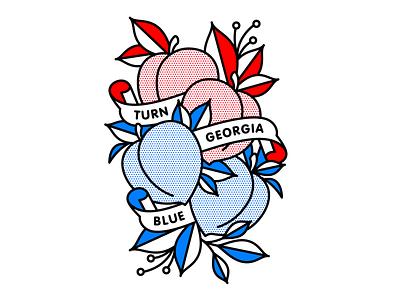 Turn Georgia Blue peaches blue vote georgia mono line tattoo monoline pop art illustration halftone