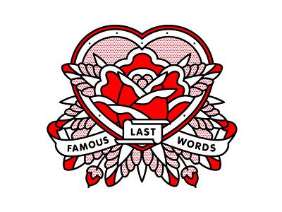 Famous Last Words emo heart famous words my chemical romance mcr rose typography mono line tattoo monoline pop art illustration halftone