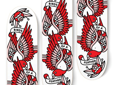 Birds Of A Feather Skateboard Idea deck skate skateboard pigeon bird typography mono line tattoo monoline pop art illustration halftone