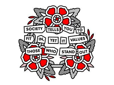 Stand Out ransom punkrock punk society flower typography mono line tattoo monoline pop art illustration halftone