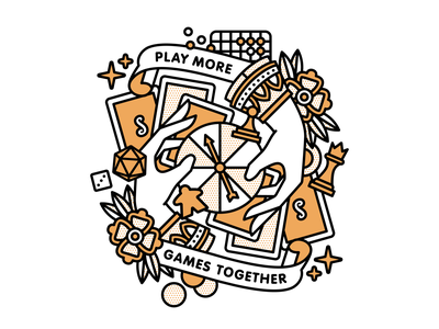 Play More Games Together typography spinner tattoo playingcards dice meeple chess board game games mono line monoline pop art illustration halftone