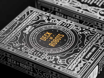 Deck of Robots Playing Cards deck space robot stellar factory playingcards playing card print mono line illustration monoline packaging package design