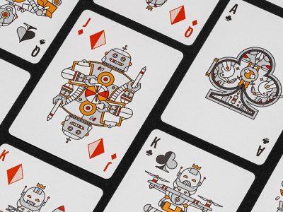 Deck of Robots Cards packaging print stellar factory space games robot playing card monoline illustration halftone