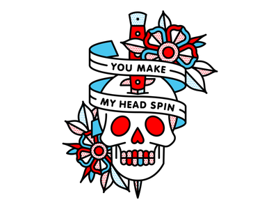 You Make My Head Spin flower nothing nowhere stand atlantic skull typography tattoo monoline illustration halftone