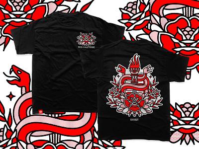 Exist | Black Tee | Preorder monoline mono line red halftone halftone red tattoo illustration merch tee tshirt