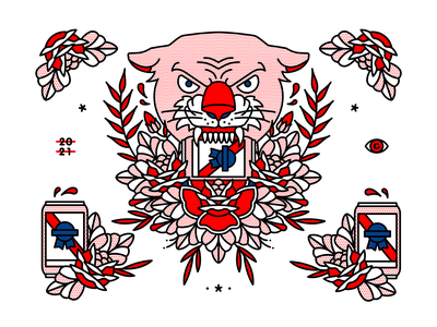Pabst Blue Ribbon x Red Halftone collab pabstblueribbon pbr beer flashsheet redhalftone tattoo monoline illustration halftone
